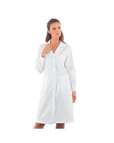 Camice Donna Bianco con Bottoni A Pressione in cotone Isacco