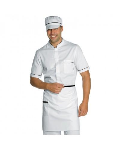Grembiule Cuoco Vita Bianco e Nero con Tasca 70x46 cm Isacco